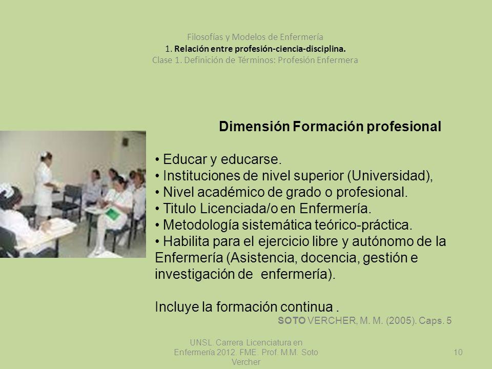 UNSL. Carrera Licenciatura en Enfermería 2012. FME. Prof. M.M. Soto Vercher 10 Filosofías y Modelos de Enfermería 1. Relación entre profesión-ciencia-