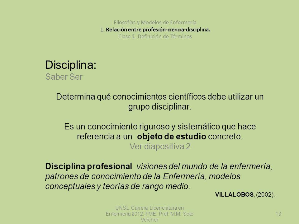 UNSL. Carrera Licenciatura en Enfermería 2012. FME. Prof. M.M. Soto Vercher 13 Filosofías y Modelos de Enfermería 1. Relación entre profesión-ciencia-