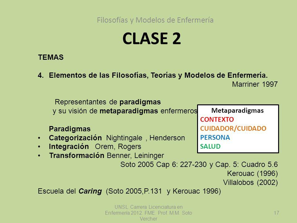 CLASE 2 Filosofías y Modelos de Enfermería UNSL. Carrera Licenciatura en Enfermería 2012. FME. Prof. M.M. Soto Vercher 17 TEMAS 4.Elementos de las Fil