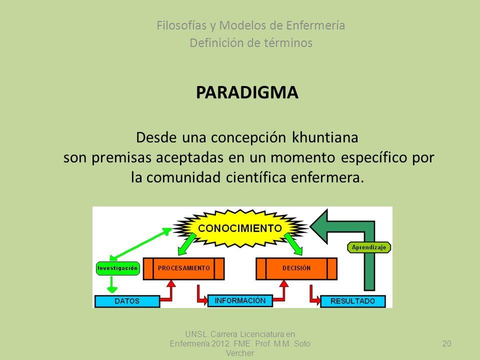 PARADIGMA Desde una concepción khuntiana son premisas aceptadas en un momento específico por la comunidad científica enfermera. Filosofías y Modelos d