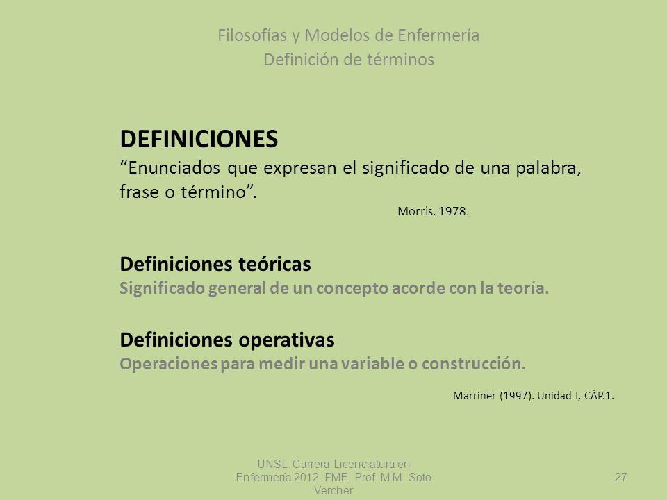 DEFINICIONES Enunciados que expresan el significado de una palabra, frase o término. Morris. 1978. Definiciones teóricas Significado general de un con