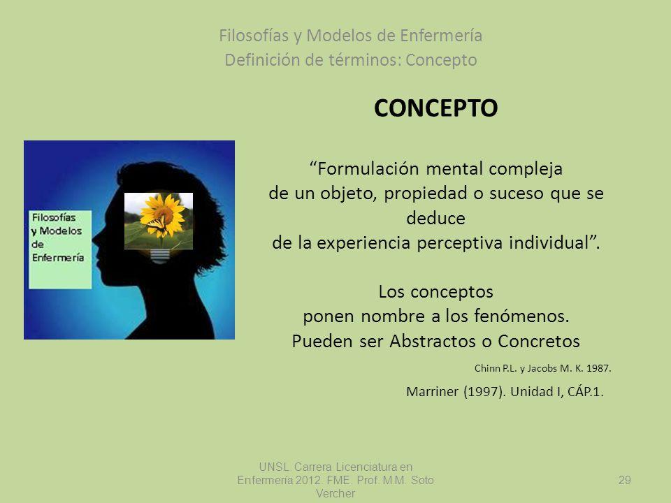 CONCEPTO Formulación mental compleja de un objeto, propiedad o suceso que se deduce de la experiencia perceptiva individual. Los conceptos ponen nombr