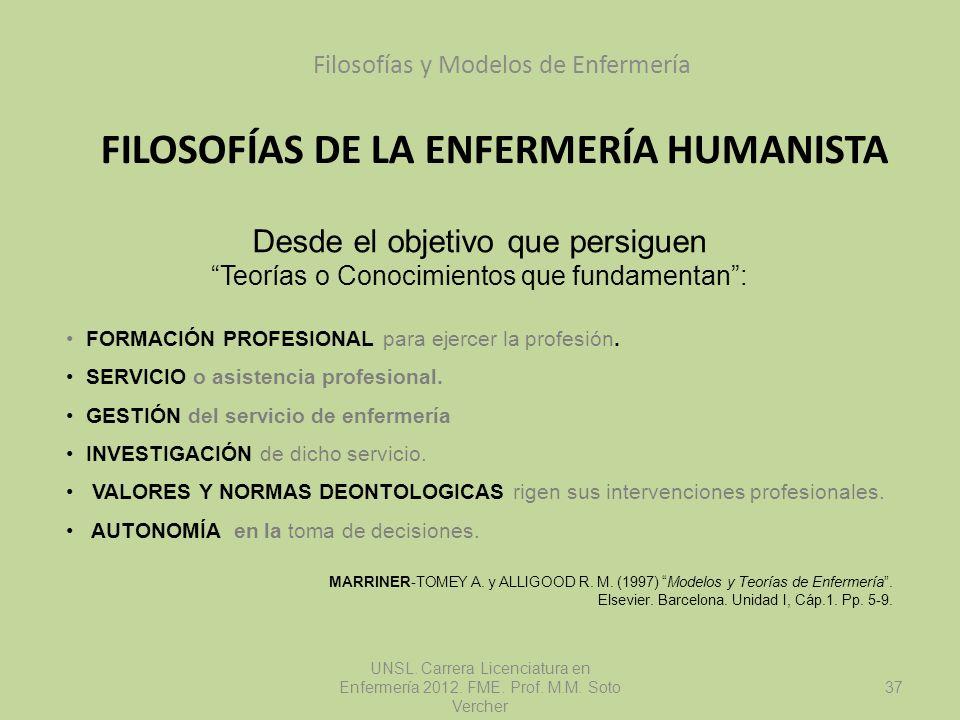 FILOSOFÍAS DE LA ENFERMERÍA HUMANISTA Filosofías y Modelos de Enfermería UNSL. Carrera Licenciatura en Enfermería 2012. FME. Prof. M.M. Soto Vercher D