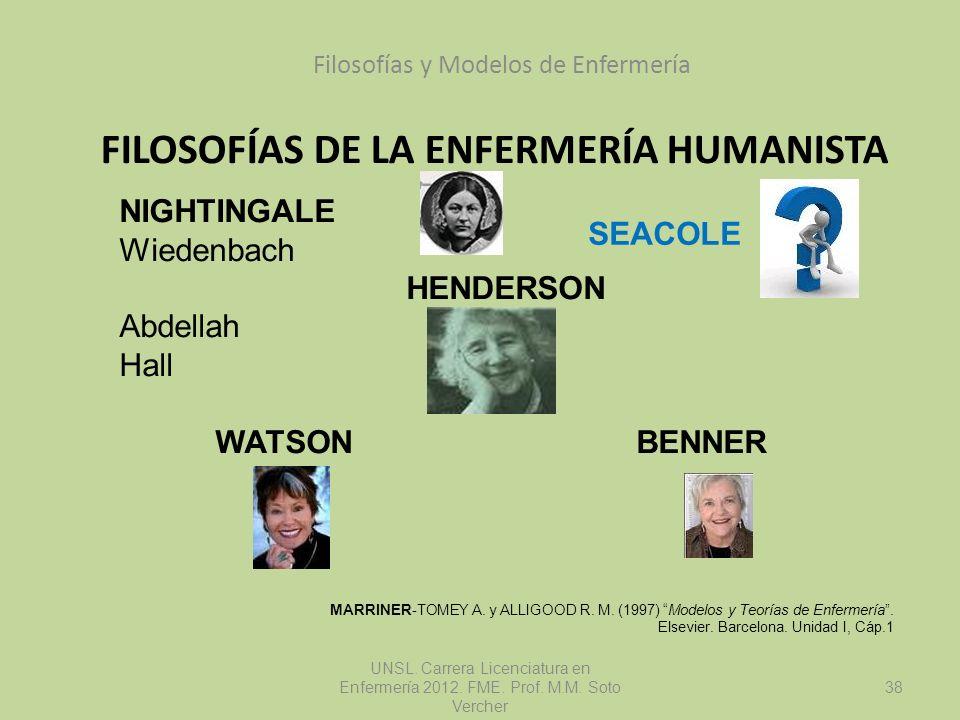 FILOSOFÍAS DE LA ENFERMERÍA HUMANISTA Filosofías y Modelos de Enfermería UNSL. Carrera Licenciatura en Enfermería 2012. FME. Prof. M.M. Soto Vercher N