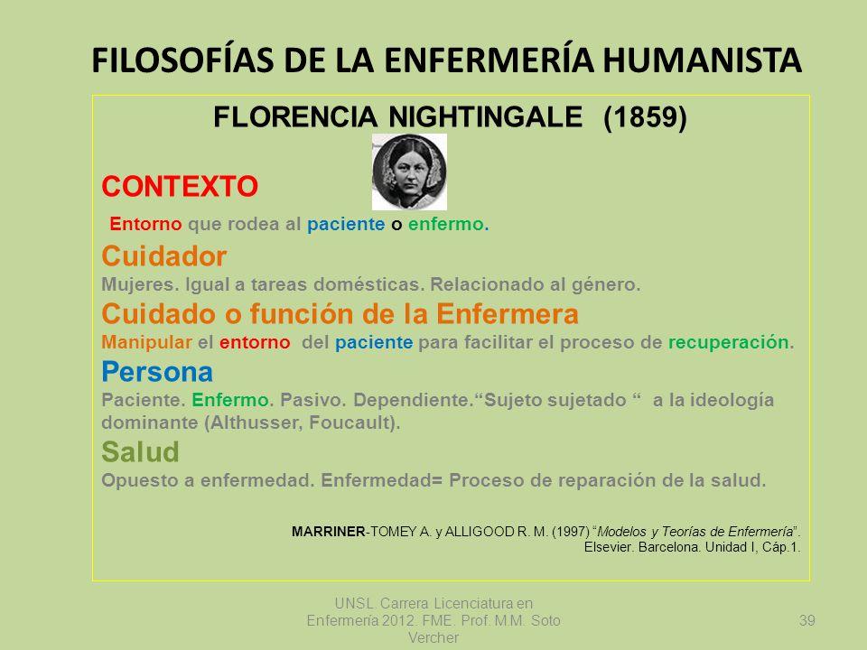 FILOSOFÍAS DE LA ENFERMERÍA HUMANISTA UNSL. Carrera Licenciatura en Enfermería 2012. FME. Prof. M.M. Soto Vercher FLORENCIA NIGHTINGALE (1859) CONTEXT