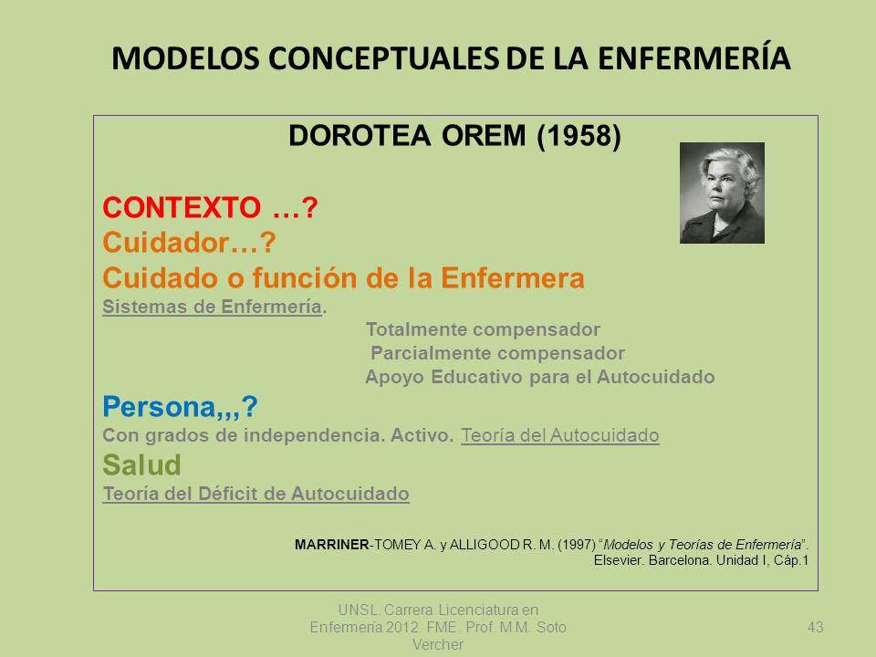 MODELOS CONCEPTUALES DE LA ENFERMERÍA UNSL. Carrera Licenciatura en Enfermería 2012. FME. Prof. M.M. Soto Vercher DOROTEA OREM (1958) CONTEXTO …? Cuid
