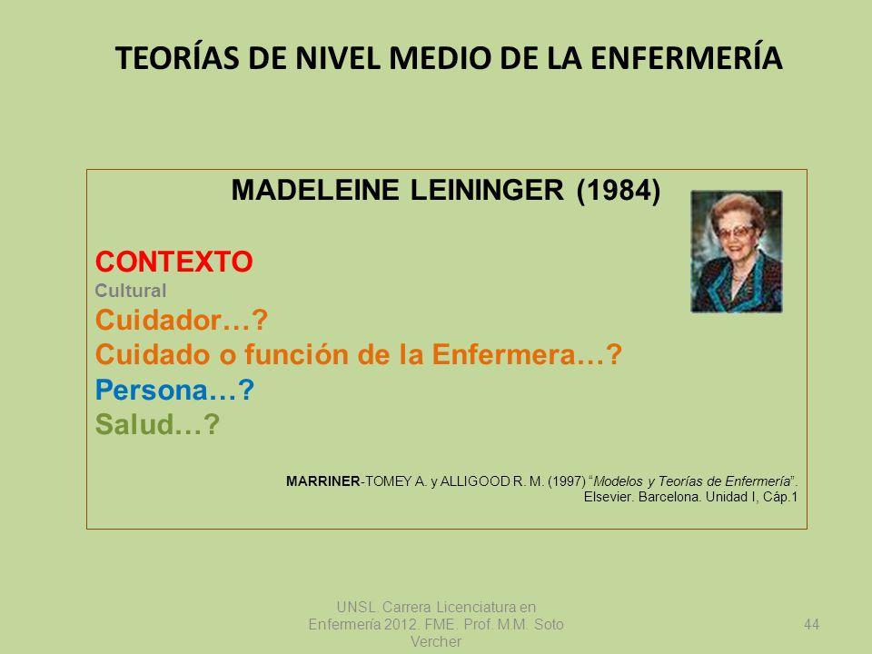 TEORÍAS DE NIVEL MEDIO DE LA ENFERMERÍA UNSL. Carrera Licenciatura en Enfermería 2012. FME. Prof. M.M. Soto Vercher MADELEINE LEININGER (1984) CONTEXT