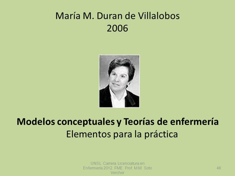 María M. Duran de Villalobos 2006 Modelos conceptuales y Teorías de enfermería Elementos para la práctica UNSL. Carrera Licenciatura en Enfermería 201