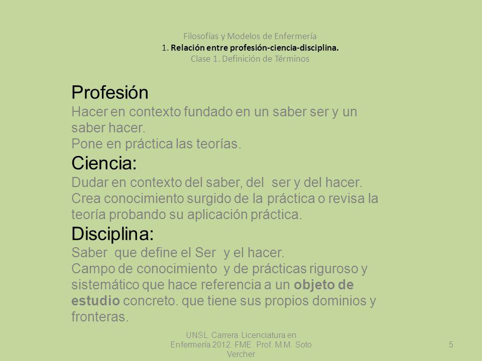 UNSL. Carrera Licenciatura en Enfermería 2012. FME. Prof. M.M. Soto Vercher 5 Filosofías y Modelos de Enfermería 1. Relación entre profesión-ciencia-d