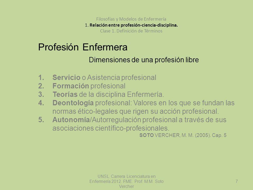 UNSL. Carrera Licenciatura en Enfermería 2012. FME. Prof. M.M. Soto Vercher 7 Filosofías y Modelos de Enfermería 1. Relación entre profesión-ciencia-d