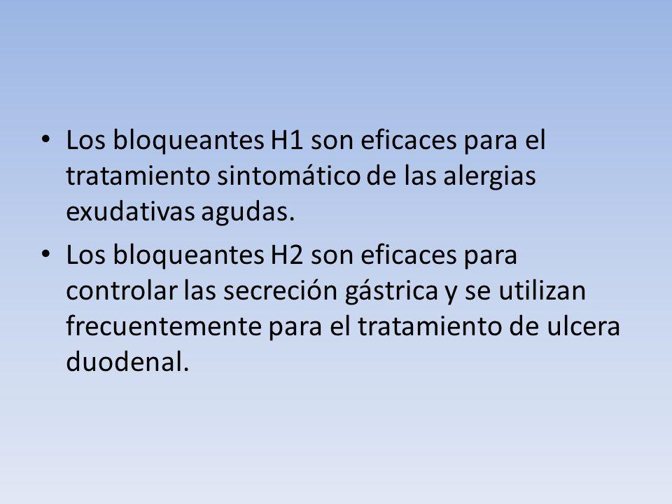 Los bloqueantes H1 son eficaces para el tratamiento sintomático de las alergias exudativas agudas. Los bloqueantes H2 son eficaces para controlar las