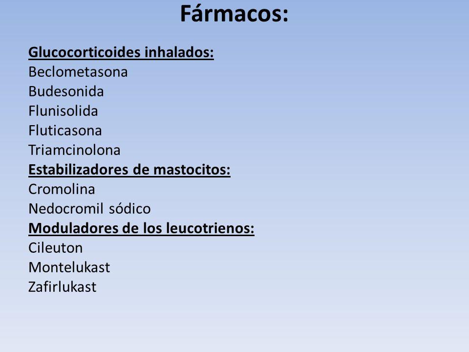 Fármacos: Glucocorticoides inhalados: Beclometasona Budesonida Flunisolida Fluticasona Triamcinolona Estabilizadores de mastocitos: Cromolina Nedocrom