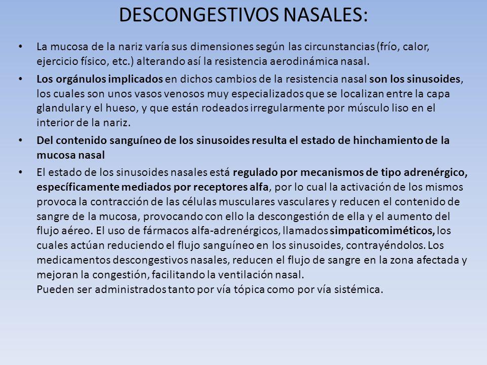 DESCONGESTIVOS NASALES: La mucosa de la nariz varía sus dimensiones según las circunstancias (frío, calor, ejercicio físico, etc.) alterando así la re