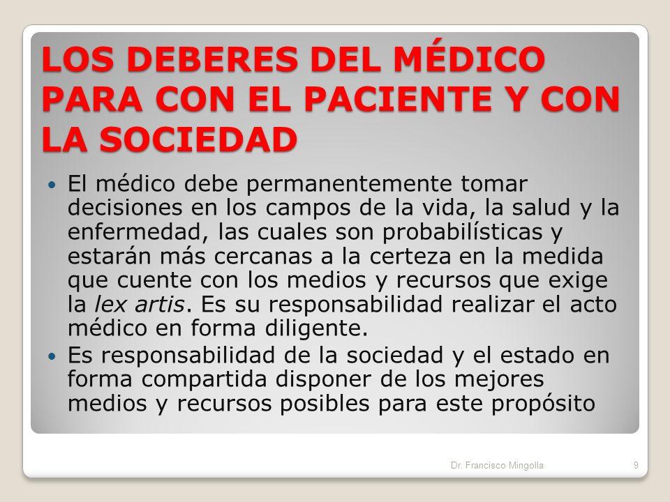 LOS DEBERES DEL MÉDICO PARA CON EL PACIENTE Y CON LA SOCIEDAD La base de la ética médica reside en el deber del médico hacia su paciente, sin embargo,