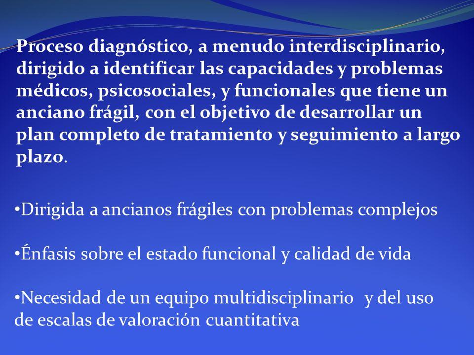 Proceso diagnóstico, a menudo interdisciplinario, dirigido a identificar las capacidades y problemas médicos, psicosociales, y funcionales que tiene u