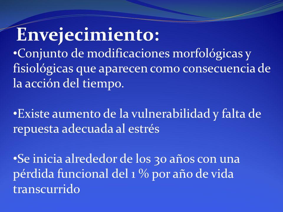 Envejecimiento: Conjunto de modificaciones morfológicas y fisiológicas que aparecen como consecuencia de la acción del tiempo. Existe aumento de la vu