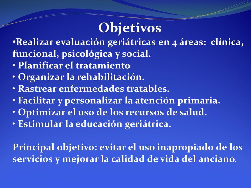 Objetivos Realizar evaluación geriátricas en 4 áreas: clínica, funcional, psicológica y social. Planificar el tratamiento Organizar la rehabilitación.