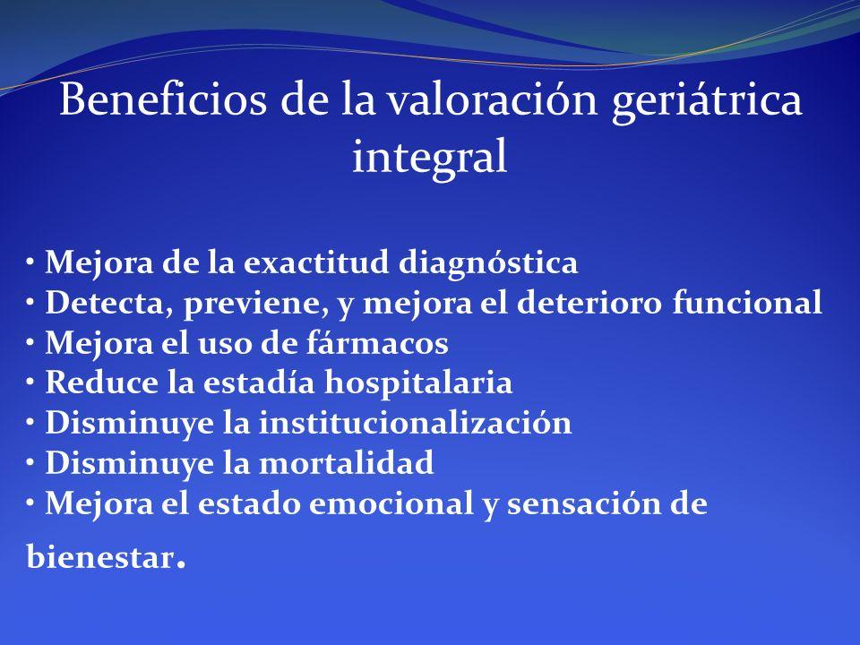 Beneficios de la valoración geriátrica integral Mejora de la exactitud diagnóstica Detecta, previene, y mejora el deterioro funcional Mejora el uso de