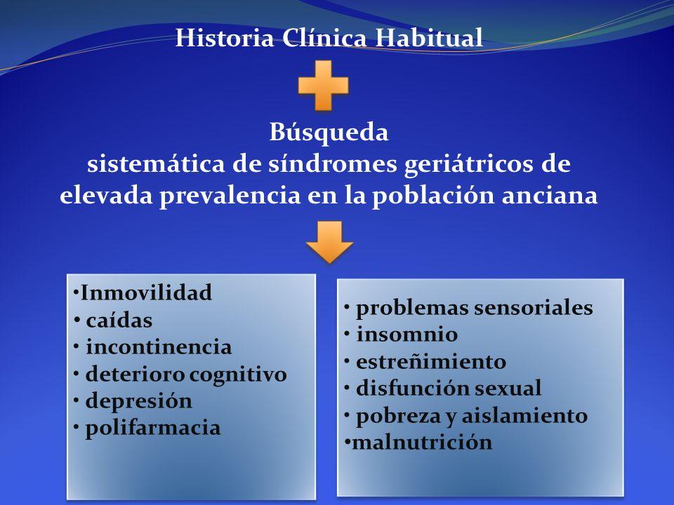 Historia Clínica Habitual Búsqueda sistemática de síndromes geriátricos de elevada prevalencia en la población anciana Inmovilidad caídas incontinenci