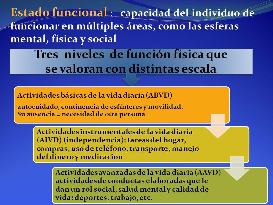 Estado funcional : capacidad del individuo de funcionar en múltiples áreas, como las esferas mental, física y social Tres niveles de función física qu