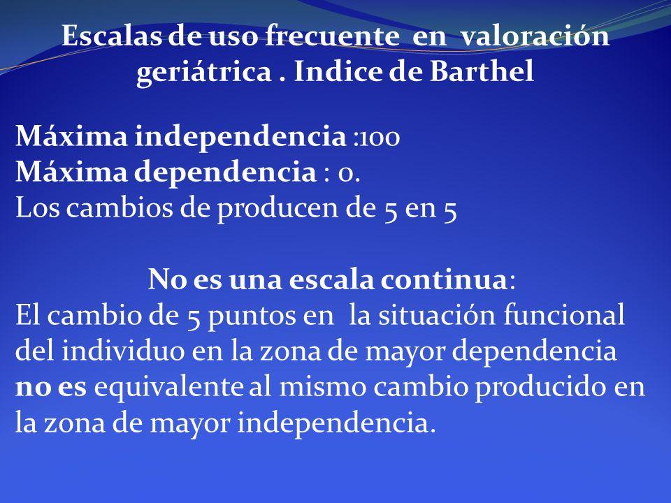 Escalas de uso frecuente en valoración geriátrica. Indice de Barthel Máxima independencia :100 Máxima dependencia : 0. Los cambios de producen de 5 en