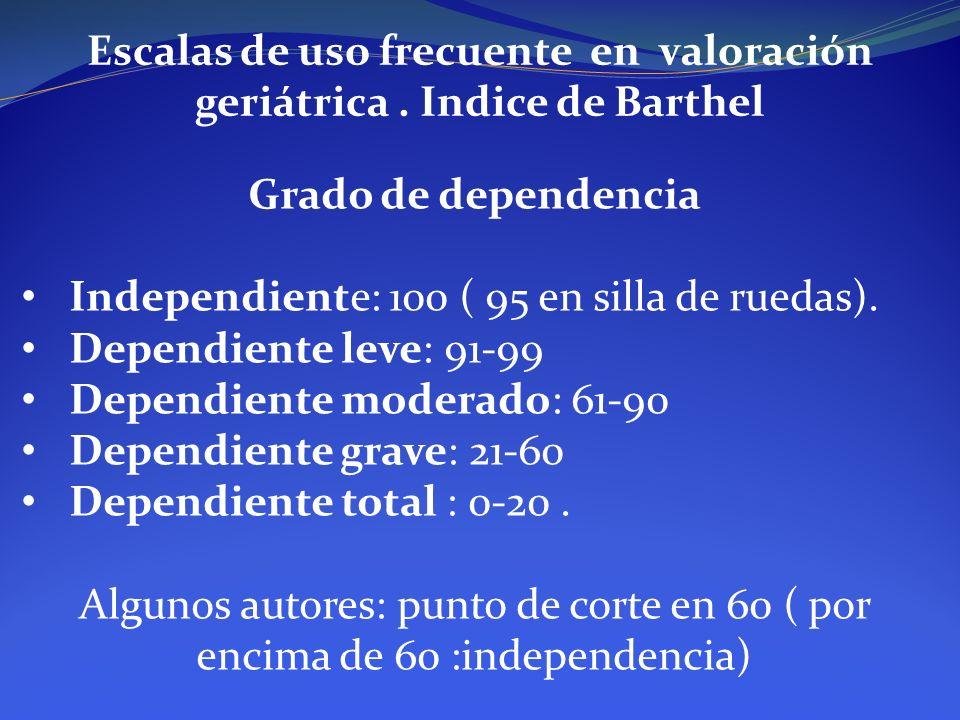 Escalas de uso frecuente en valoración geriátrica. Indice de Barthel Grado de dependencia Independiente: 100 ( 95 en silla de ruedas). Dependiente lev