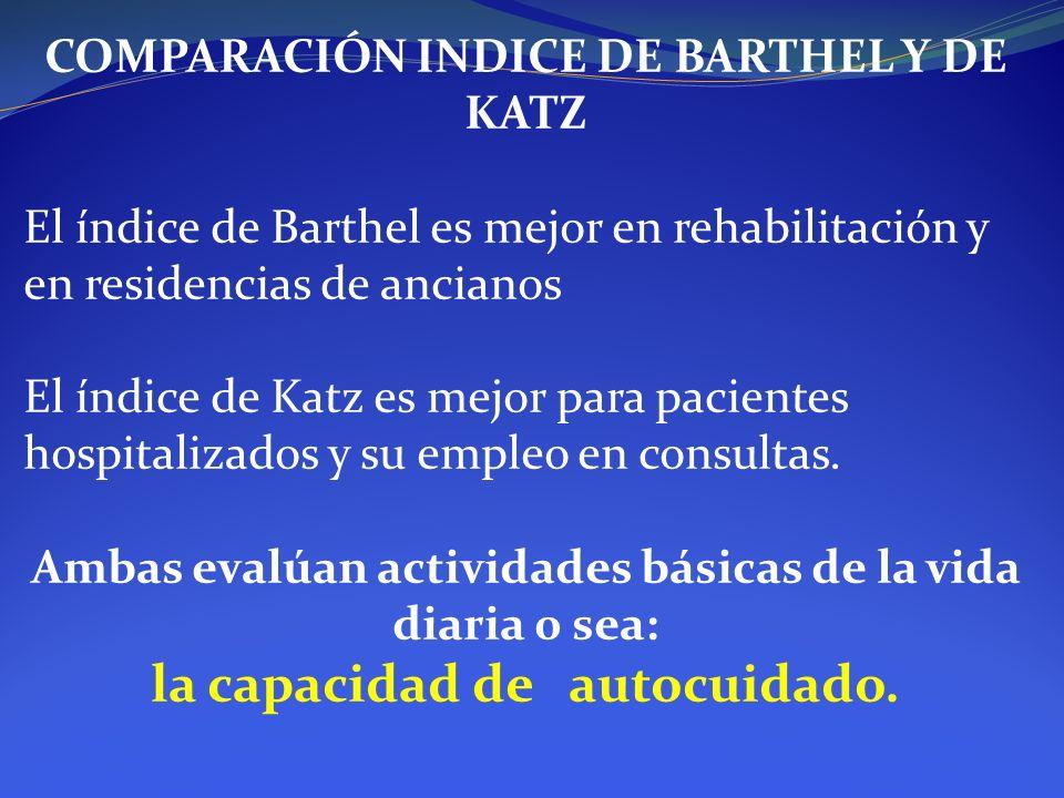COMPARACIÓN INDICE DE BARTHEL Y DE KATZ El índice de Barthel es mejor en rehabilitación y en residencias de ancianos El índice de Katz es mejor para p