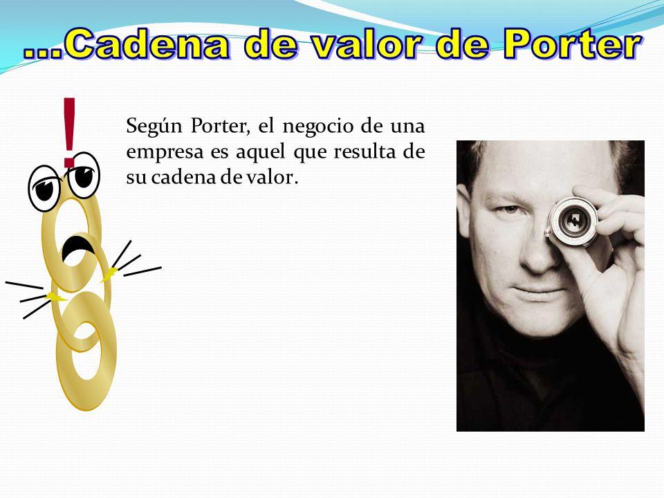 Según Porter, el negocio de una empresa es aquel que resulta de su cadena de valor. !