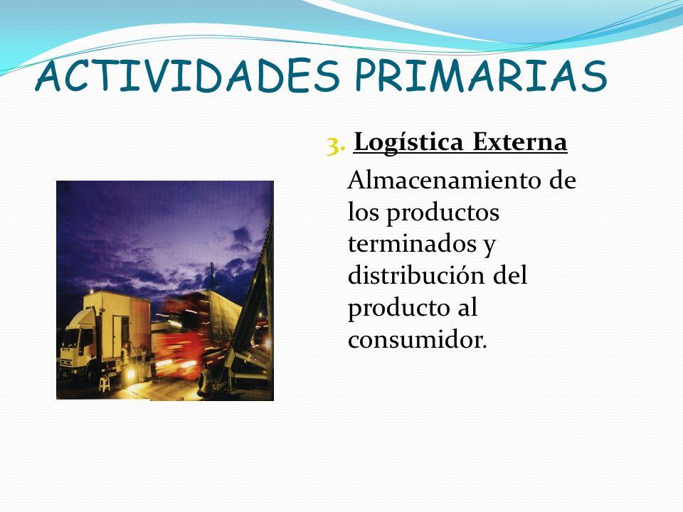 ACTIVIDADES PRIMARIAS 3. Logística Externa Almacenamiento de los productos terminados y distribución del producto al consumidor.