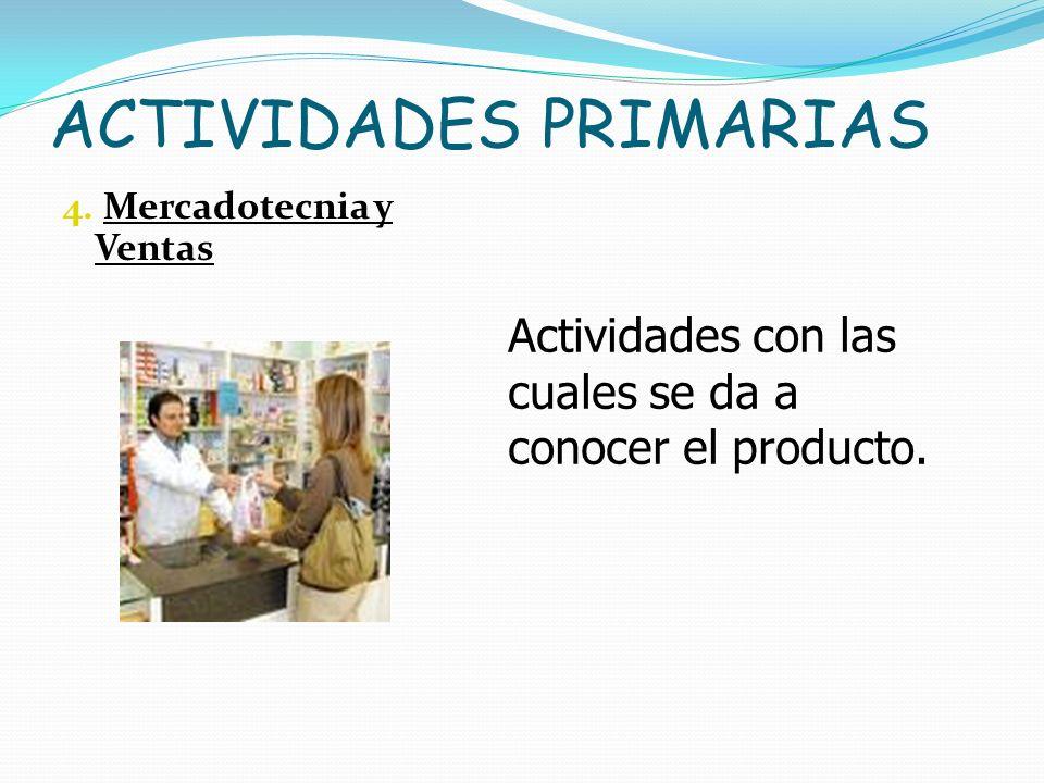 ACTIVIDADES PRIMARIAS 4. Mercadotecnia y Ventas Actividades con las cuales se da a conocer el producto.