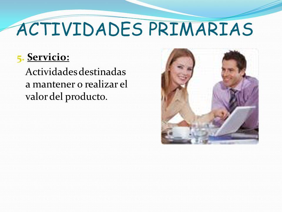 ACTIVIDADES PRIMARIAS 5. Servicio: Actividades destinadas a mantener o realizar el valor del producto.