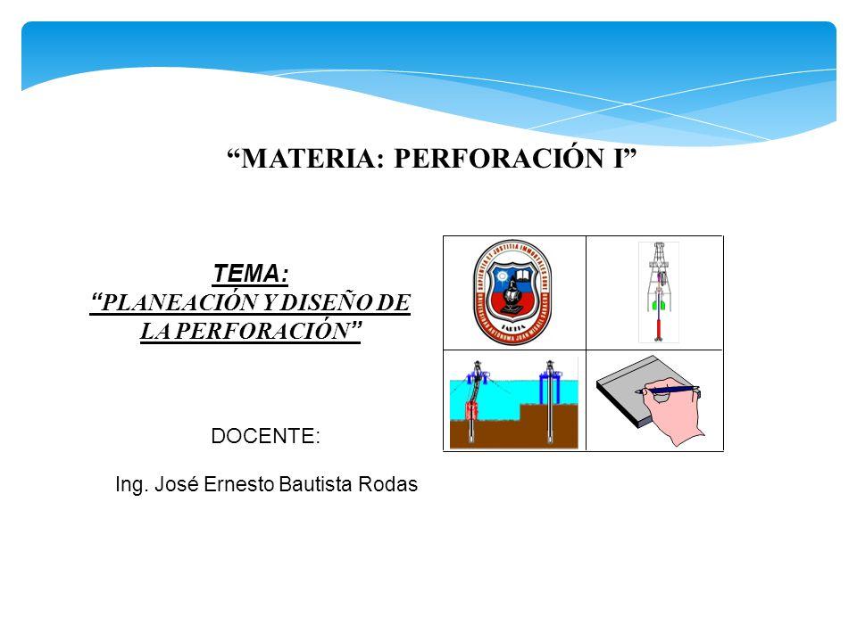 MATERIA: PERFORACIÓN I DOCENTE: TEMA: PLANEACIÓN Y DISEÑO DE LA PERFORACIÓN Ing. José Ernesto Bautista Rodas