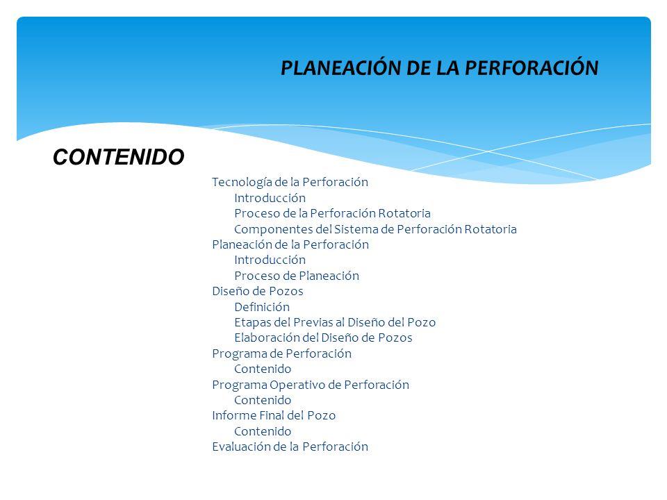 Tecnología de la Perforación Introducción Proceso de la Perforación Rotatoria Componentes del Sistema de Perforación Rotatoria Planeación de la Perfor