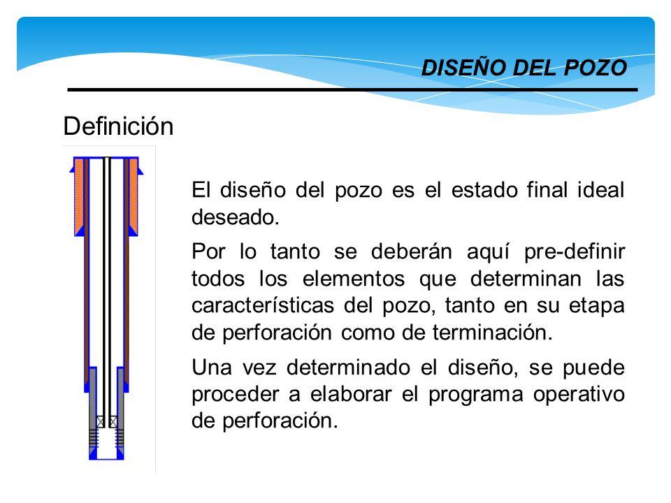 DISEÑO DEL POZO El diseño del pozo es el estado final ideal deseado. Por lo tanto se deberán aquí pre-definir todos los elementos que determinan las c