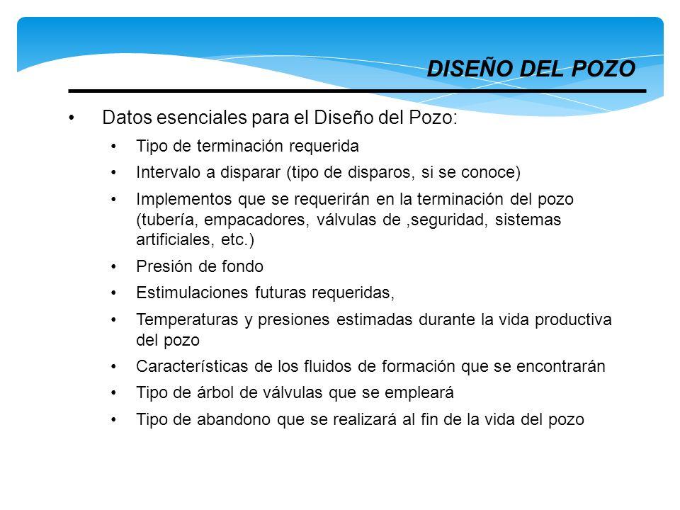 Datos esenciales para el Diseño del Pozo: Tipo de terminación requerida Intervalo a disparar (tipo de disparos, si se conoce) Implementos que se reque