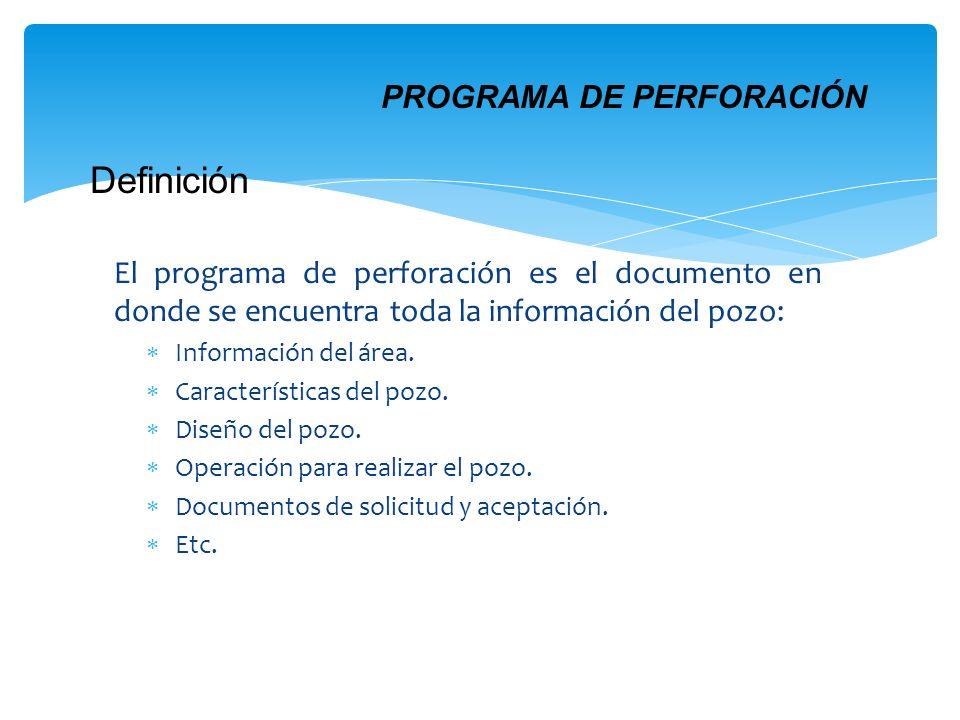 El programa de perforación es el documento en donde se encuentra toda la información del pozo: Información del área. Características del pozo. Diseño