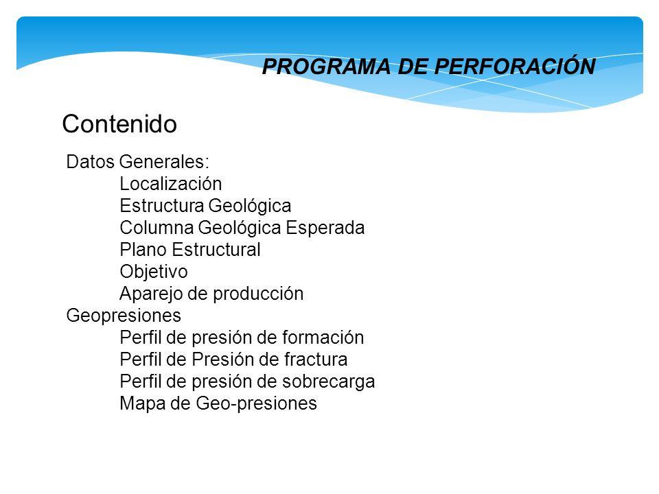 Contenido Datos Generales: Localización Estructura Geológica Columna Geológica Esperada Plano Estructural Objetivo Aparejo de producción Geopresiones