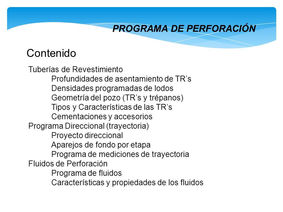 PROGRAMA DE PERFORACIÓN Contenido Tuberías de Revestimiento Profundidades de asentamiento de TRs Densidades programadas de lodos Geometría del pozo (T