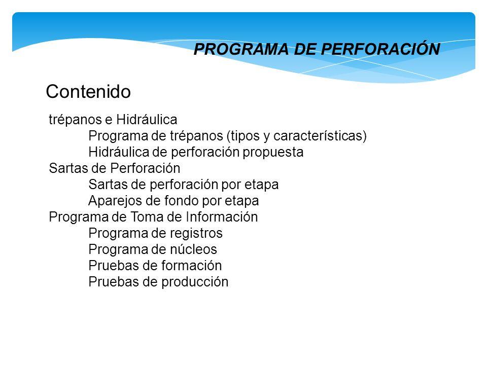 PROGRAMA DE PERFORACIÓN Contenido trépanos e Hidráulica Programa de trépanos (tipos y características) Hidráulica de perforación propuesta Sartas de P