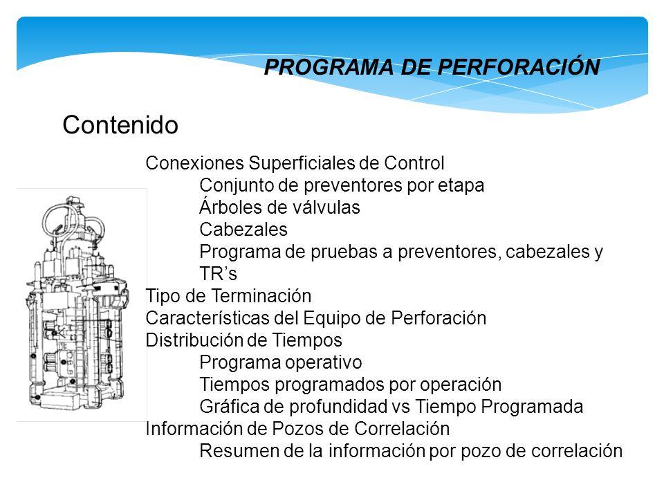 PROGRAMA DE PERFORACIÓN Contenido Conexiones Superficiales de Control Conjunto de preventores por etapa Árboles de válvulas Cabezales Programa de prue