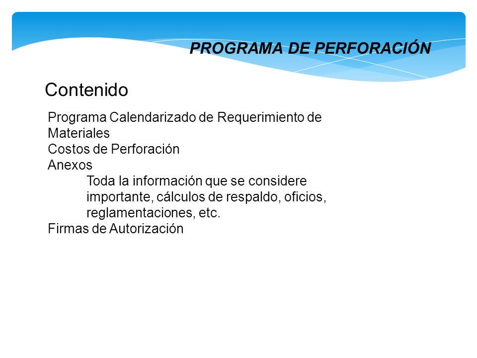 PROGRAMA DE PERFORACIÓN Contenido Programa Calendarizado de Requerimiento de Materiales Costos de Perforación Anexos Toda la información que se consid