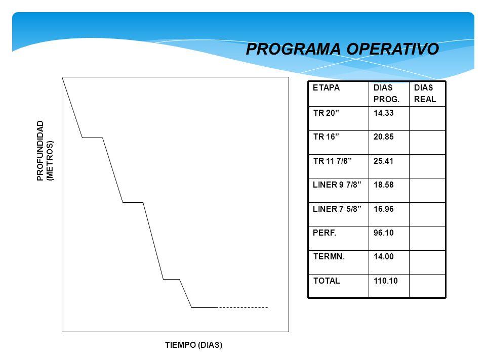 TIEMPO (DIAS) PROFUNDIDAD (METROS) 110.10TOTAL 14.00TERMN. 96.10PERF. 16.96LINER 7 5/8 18.58LINER 9 7/8 25.41TR 11 7/8 20.85TR 16 14.33TR 20 DIAS REAL