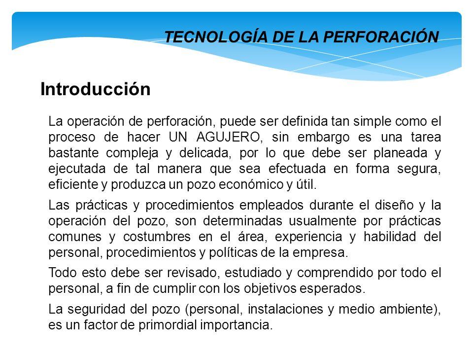 Introducción La operación de perforación, puede ser definida tan simple como el proceso de hacer UN AGUJERO, sin embargo es una tarea bastante complej