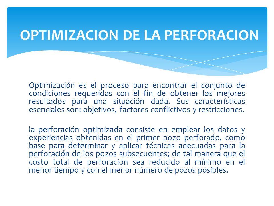 Optimización es el proceso para encontrar el conjunto de condiciones requeridas con el fin de obtener los mejores resultados para una situación dada.