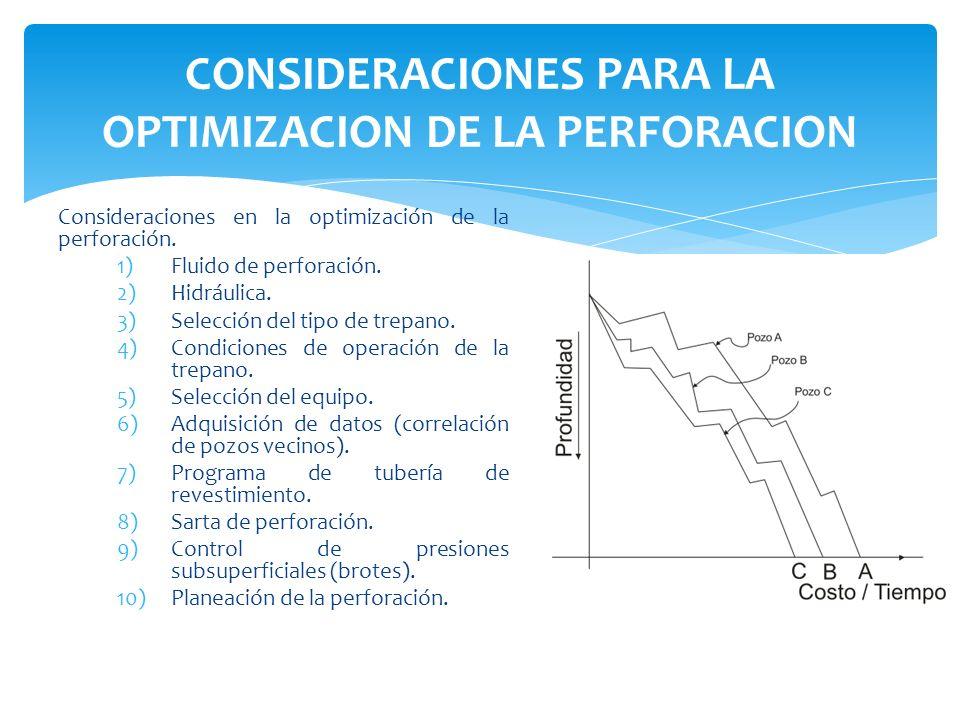Consideraciones en la optimización de la perforación. 1)Fluido de perforación. 2)Hidráulica. 3)Selección del tipo de trepano. 4)Condiciones de operaci