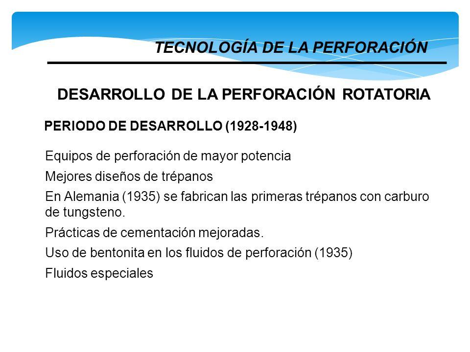 Equipos de perforación de mayor potencia Mejores diseños de trépanos En Alemania (1935) se fabrican las primeras trépanos con carburo de tungsteno. Pr