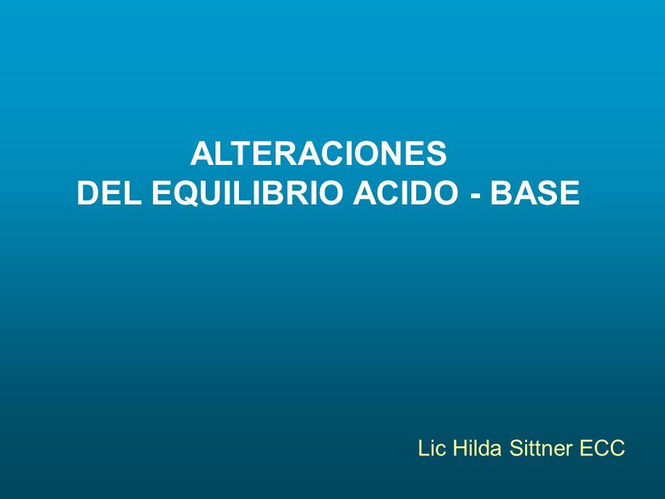 ALTERACIONES DEL EQUILIBRIO ACIDO - BASE Lic Hilda Sittner ECC