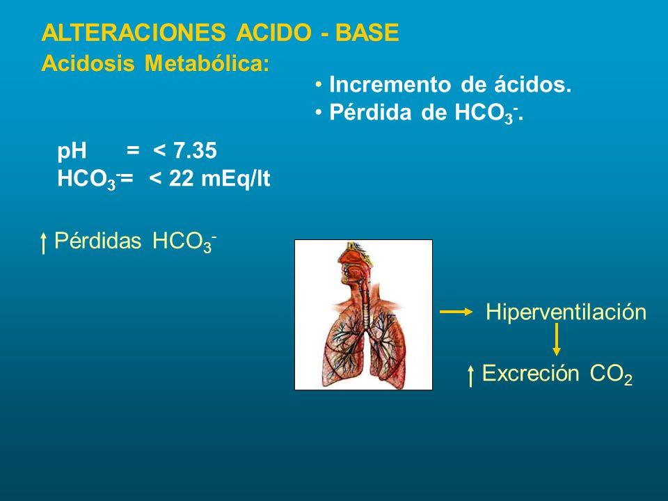Incremento de ácidos. Pérdida de HCO 3 -. pH = < 7.35 HCO 3 - = < 22 mEq/lt Pérdidas HCO 3 - Hiperventilación Excreción CO 2 Acidosis Metabólica: ALTE