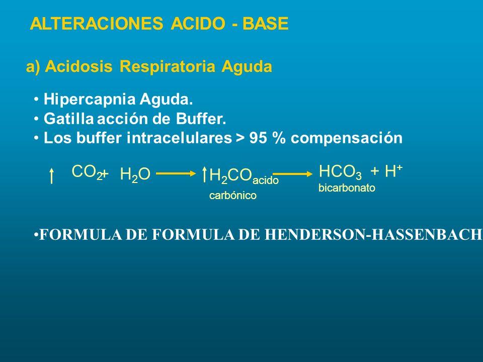 Hipercapnia Aguda. Gatilla acción de Buffer. Los buffer intracelulares > 95 % compensación FORMULA DE FORMULA DE HENDERSON-HASSENBACH CO 2 +H2OH2O H 2