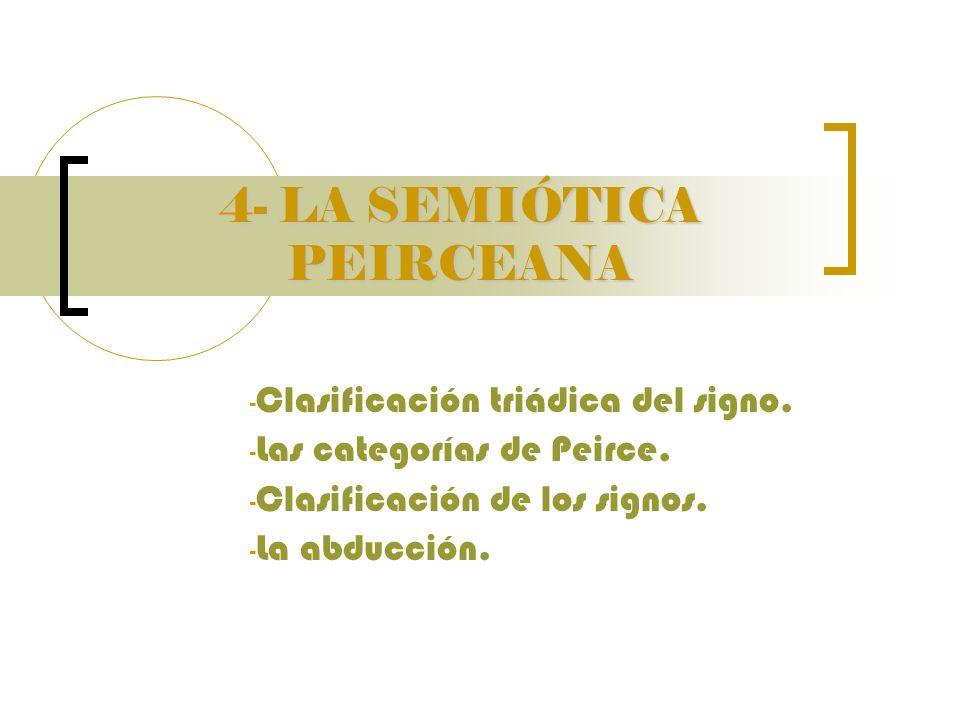 4- LA SEMIÓTICA PEIRCEANA - Clasificación triádica del signo. - Las categorías de Peirce. - Clasificación de los signos. - La abducción.